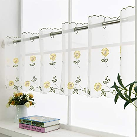 Café Curtains Handmade Yellow Daisy Embroidered Valances For Kitchen Window Treatments 70 Inch By 27 Inch By Zhh Amazon Ca Home