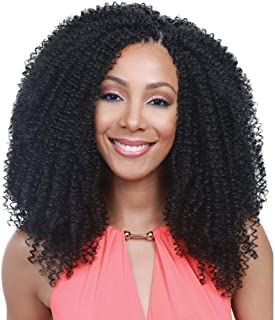 Armmu Lace Front Wigs Afro Kinky Curly Synthetic Wigs for Women - Full Hair Natural Black, Shoulder Length, Deep Right L Part, 20