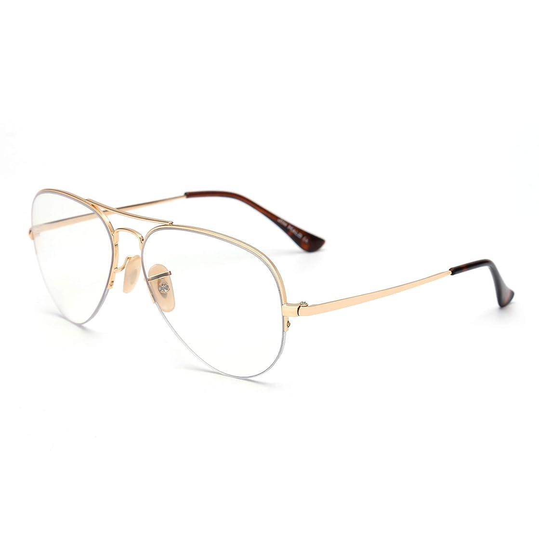 Aviator Blue Light Blocking Computer Glasses Retro Rimless Video Eyeglasses Reduce Eye Strain Anti Glare Clear Lens Men Women Gold
