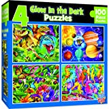 MasterPieces Puzzles Collection - Hidden Image Glow Blue 4-Pack 100 Piece Jigsaw Puzzles