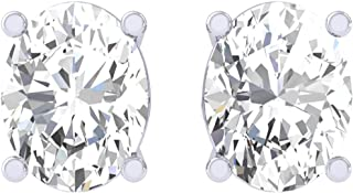 Clara 92.5 Sterling silver White Gold Plated Oval Solitaire Stud Earring Screw Back For Women & Girls