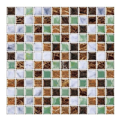 6 Unidades 3D autoadhesiva Etiqueta engomada del azulejo de la Pared, pelar y Pegar Vinilo Wallpaper Anti Molde baño decoración de la Cocina 1 sq.ft/Piece (Estilo Mosaico marrón Verde)