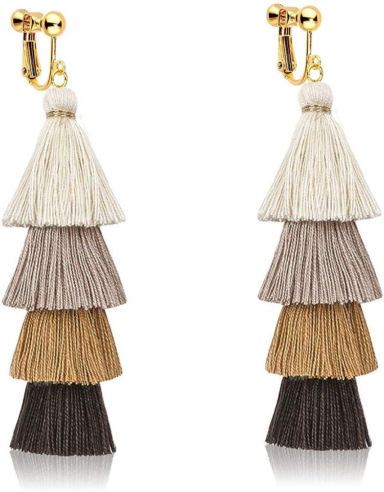 Clip on Dangle Teired Layered Earrings Bohemian Handmade Long Threads Tassel Boho Women Girls Fringe Drop