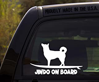 OhioDecals.com Jindo on Board - Funny Dog Breed Decal Sticker for car or Truck Window