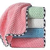 Flystpp 20 unids Limpieza doméstica Limpieza de Plato Cocina Scouring Pad Microfibra Espesado Absorbente Cocina Trapos Daily Slack Towel (Color : Orange/20pcs)
