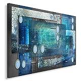 Feeby Tableau imprimé sur Toile Deco Canevas 70x100 Image Abstraction Rectangles Cadres Gris Bleu