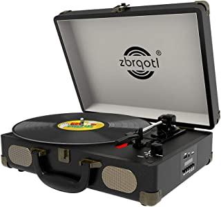 Vinyl Record Player - Vintage Suitcase Turntable 3 Speed for 7〞10〞12〞 LP Bluetooth 2 Stereo Speakers 9V 1.5A DC in Standard RCA Headphone Outputs,Black (Black)