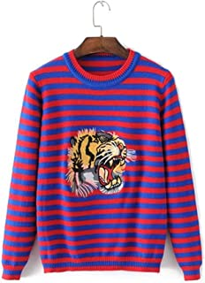 2018 Autumn New Round Neck Tiger Head Embroidered Striped Sweater Female