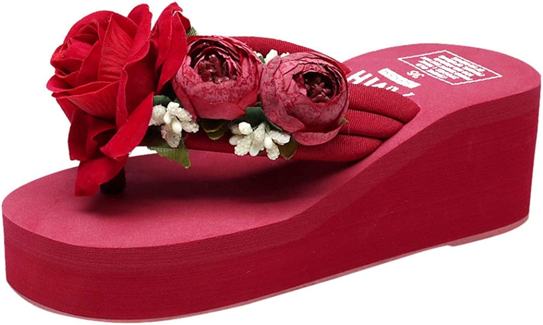 Hoxekle Woman's Boho Flower Leisure Thong Flip Flops Non-Slip Wedge Platform High Heel Girl Sweet Sandals