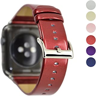 WAfeel for Apple Watch Band 38mm Women Men Patent Leather Loop with Metal Clasp Replacement Strap for Iwatch Series 3/Series 2/Series 1/Edition/Sport