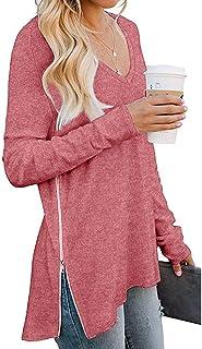Yidarton Women's Long Sleeve V-Neck Casual T-Shirt Side Split with Side Zipper Loose Tunic Tops Blouse Shirts