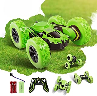 Faylor RC Stunt Car Rechargeable Racing Car with 2.4Ghz Remote Control, High Speed Car Toys 4WD Double Sided 360° Spins an...