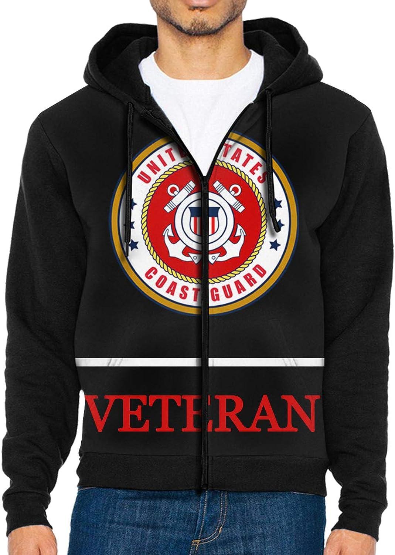 Men's Veteran United States Coast Guard Full Zip Hoodie Jacket Hooded Sweatshirt
