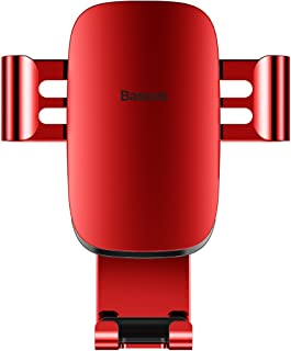 Baseus Car Phone Holder,All Metal Full Automatic Air Vent Mount Cell Phone Holder for Car for iPhone X/8/8 Plus/7/7 Plus Samsung Galaxy S9/S9 Plus/S8/S8 Plus and Other Smartphones (Red)