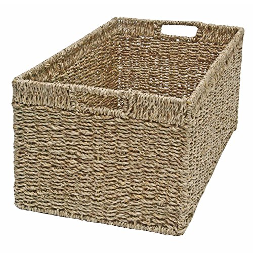 Casa Furnishings Seagrass Wicker Storage Basket, Shelf Drawer, Rectangular Long (Large - L 50 x W 28 x H 22cm)