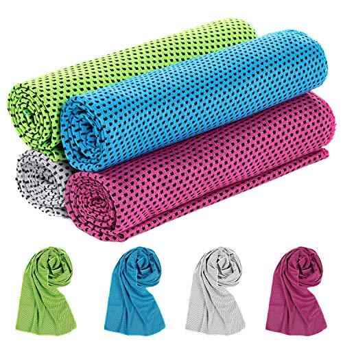 XiYee Toalla de Enfriamiento, 4 Piezas Gym Entrenamiento Toalla, Toalla de Microfibra para Deporte o...