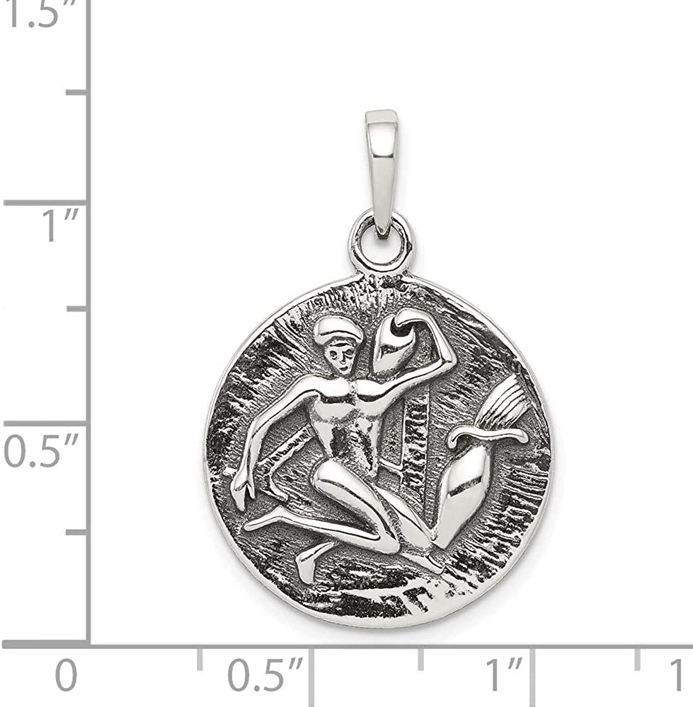 Carat in Karats Sterling Silver Polished Antique Finish Aquarius Horoscope Pendant 29mm x 19mm