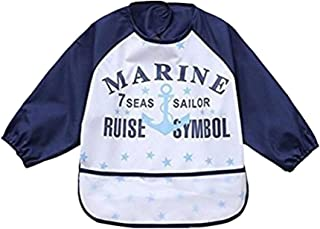 Waterproof Bib with Sleeves&Pocket,Unisex Kids Childs Arts Craft Painting Apron for Baby or kids6-36 Months