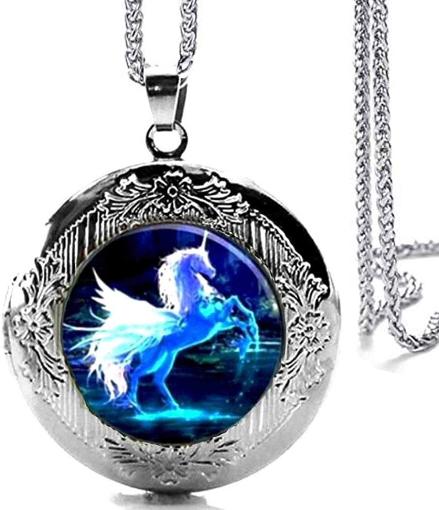 Silver Tone Unicorn Limited Special Price Horse Locket NEW before selling Glass Pendant Cabochon Necklace