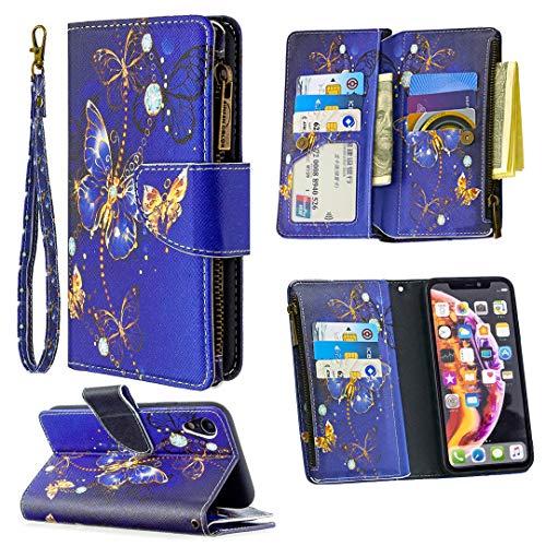 """Nadoli Reißverschluss Brieftasche Etui für iPhone Xr 6.1"""",Bunt 9 Karte Halter Pu Leder Blau Schmetterling Entwurf Lanyard Magnetisch Standfunktion Flip Schutzhülle"""
