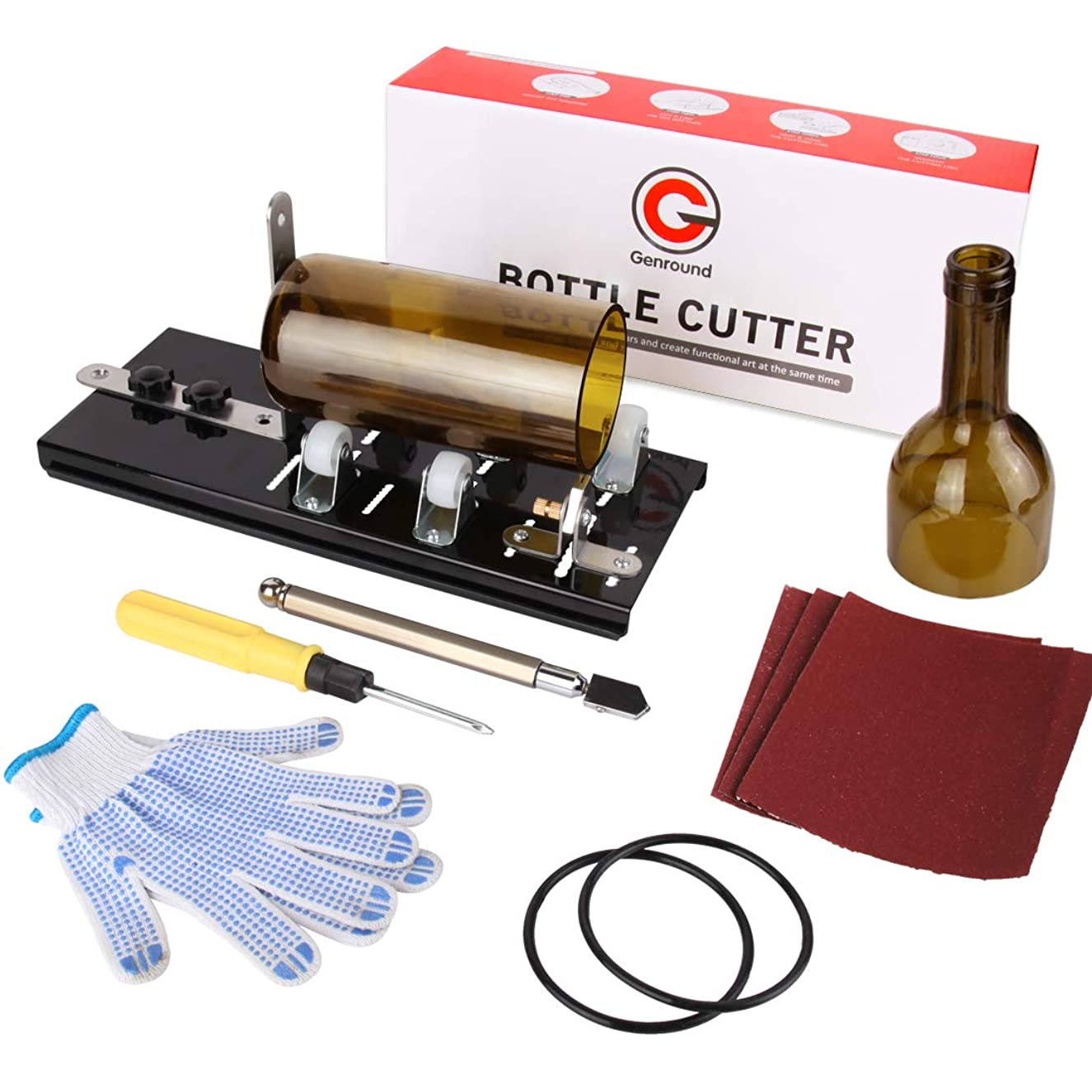 Genround G2.1 Glass Bottle Cutter Bundle Glass Cutter Cut Round Bottle from Neck to Bottom for DIY Projects, Glass Cutter Tool with Oil Feed Glass Cutting Tool, Gloves, Sanding Paper, Isolation Rings