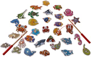 BAOBLADE 34 Pieces Kids Preschool Wooden Magnetic Fishing Fish Game Toy Set Play Fun