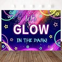 ZPC Let sグロー背景ネオンスプラッシュ誕生日パーティー7X5ftビニールグリッタースターダンスパーティーバナー装飾写真の背景