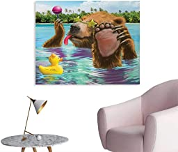 Tudouhoho Animal The Office Poster Happy Fancy Wild Bear in The Sea by The Beach with its Sunglasses Candies Print Wall Paper Multicolor W48 xL32
