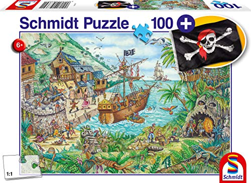 Schmidt Spiele Puzzle 56330 In der Piratenbucht, inklusive Piratenflagge, Kinderpuzzle, 100 Teile, bunt