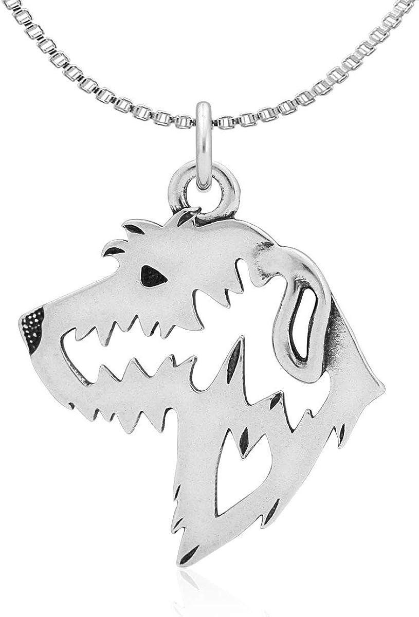 Head Sterling Silver Irish Wolfhound Pendant