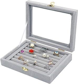 BUCKETLIST® Women Velvet Glass Ring Earrings Jewellery Box Display Storage Showcase Holder Organizer,Ring Display Box Velv...