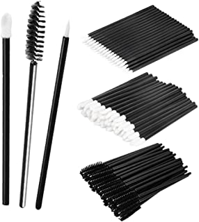 MagiDeal 150PCS Makeup Comestic Disposable Applicator Wand Set Mascara Eyelash Liquid Liner Eye Lip Brushes Kit - black, as described