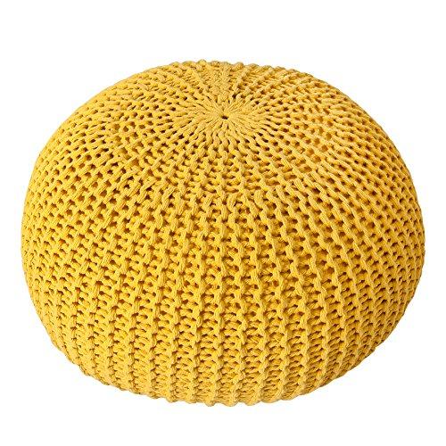 Invicta Interior Design Strick Pouf LEEDS gelb 50cm Baumwolle in Handarbeit Sitzkissen Fußhocker Sitzpouf gepolstert Bezug aus Strick Garn Sitzgelegenheit