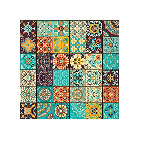 PAPER PLANE DESIGN Vinyl Wall Floor Tile Sticker, 6 x 6 Inches, Multicolour
