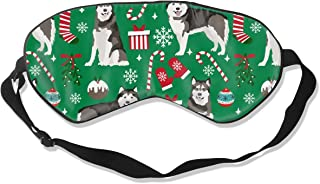 Alaskan Malamute Christmas Holiday Presents Candy Breathable Pure Silk Sleep Eye Mask Best Sleeping Eye Cover for Travel, Nap, Blindfold with Adjustable Strap for Men, Women or Kids