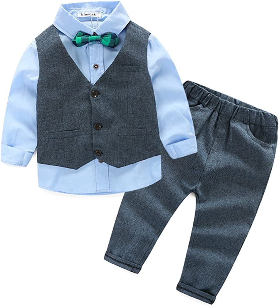 Infant Baby Boys Long Sleeve Shirt with Bowtie+Vest+Pants Clothing Set