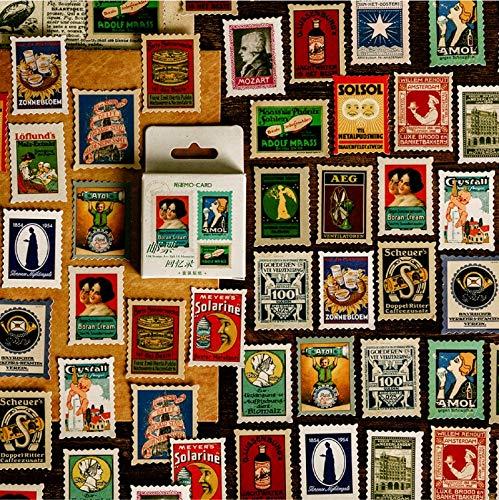 BLOUR 46 Pezzi/Scatola Vecchi francobolli Adesivi Decorativi retrò Scrapbooking Etichetta Adesiva Fiocchi Album stazionario Adesivi Vintage per Ufficio