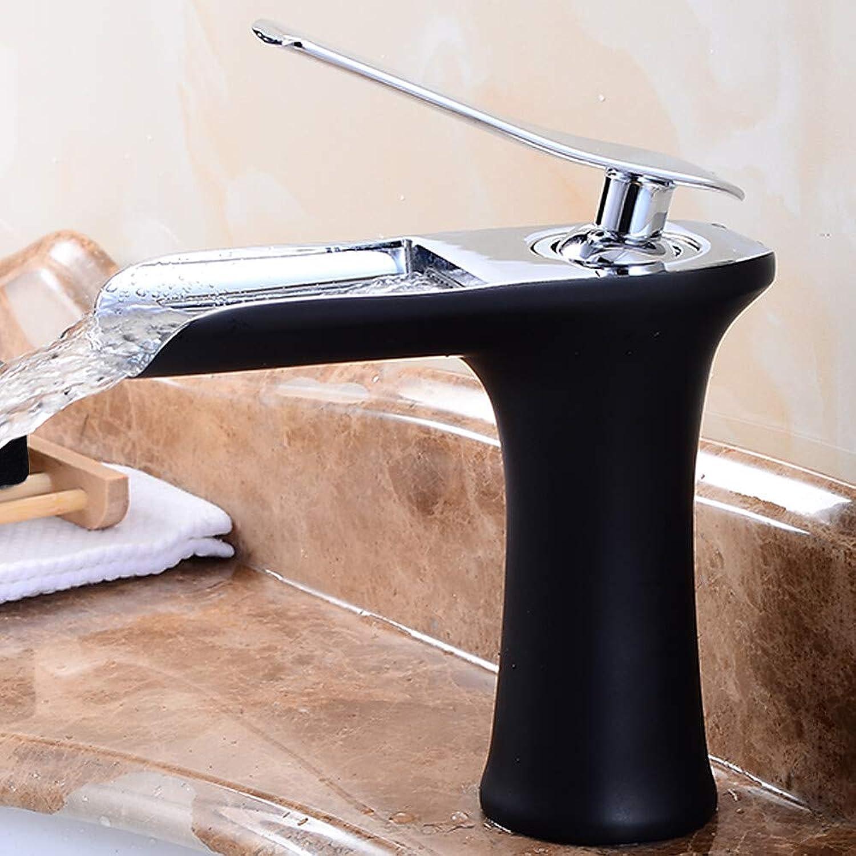 Novopus Bathroom faucet:Modern Style Modern Contemporary Deck Mounted Waterfall Ceramic Valve Single Handle One Hole Black, Bathroom Sink Faucet,1