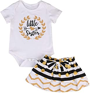 Barong Baby Girl Big &Little Sister Short Sleeve Bodysuit Tops Bowknot Striped Skirts Dress Set