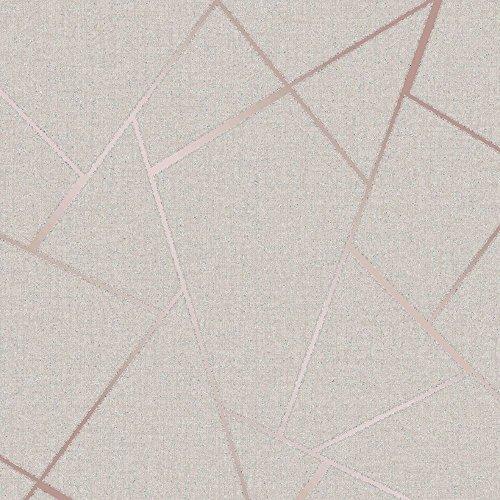 Fine Decor Wallcoverings FD42282 Papel pintado fractal de cuarzo, oro rosa