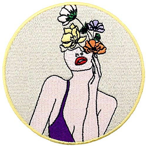 Parche termoadhesivo para la ropa, diseño de Mujer es hermosas flores