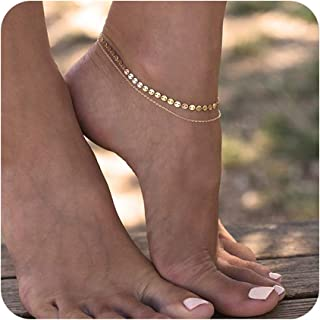 Simple Gold Chain Anklet,14K Gold/Silver Plated Dainty Summer Beach Anklets for Women