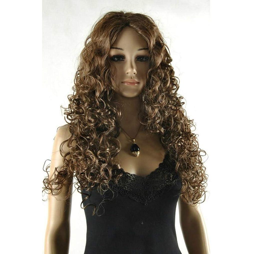 にんじん具体的に平らなZXPzZ ウィッグ女性のライトブラウン少量イオンホットふわふわロングカーリーヘアーマルチウェーブ60 cmウィッグ