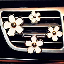 INEBIZ Car Charm Beautiful Daisy Flowers Air Vent Decorations Cute Automotive Interior Trim, 4 pcs with Different Sizes (White)