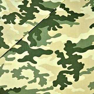 Pingianer 11,99€/m Camouflage Tarn 100% Baumwolle Baumwollstoff Kinder Meterware Handwerken Nähen Stoff Camouflage Grün Creme, 100x160cm 11,99€/m