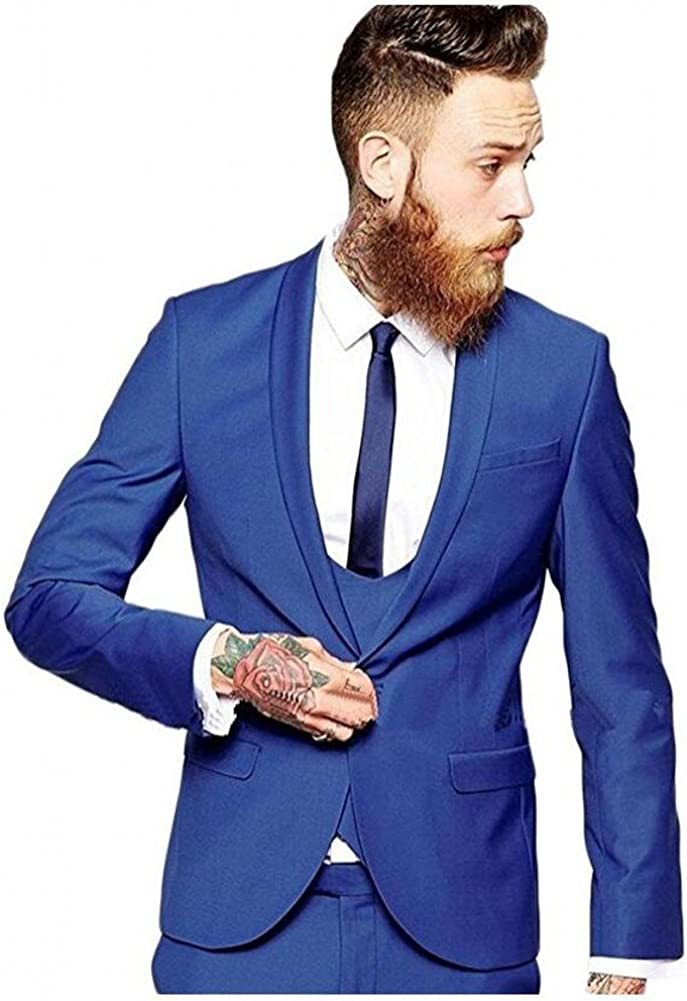 Botong 3 Pieces Royal Blue Men Suits Wedding Suits for Men Groom Tuxedos