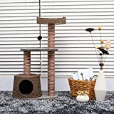 PawHut D30-071 Scratching Cat Tree Post Climbing Kitten Pets Furniture with Toy, Brown