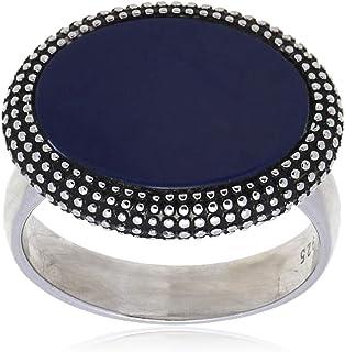 خاتم فضة استرليني ملكي مع حجر ازرق للرجال من عتيق
