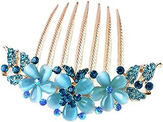AnVei-Nao Womens Girls Rhinestones Flower Hair Combs Pins Hair Accessories Blue