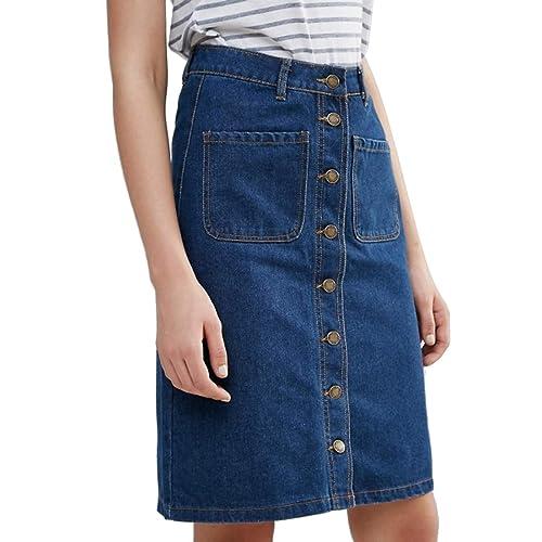 5de54f1749 SS7 New Women's Denim Midi Skirt, Indigo, Sizes 8 to 14